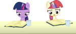 Filly Twilight Sparkle and Moon Dancer reading by CloudyGlow