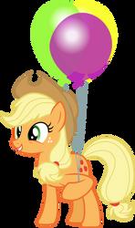 Applejack holding balloons