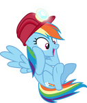 Excited Rainbow Dash in a helmet by CloudyGlow
