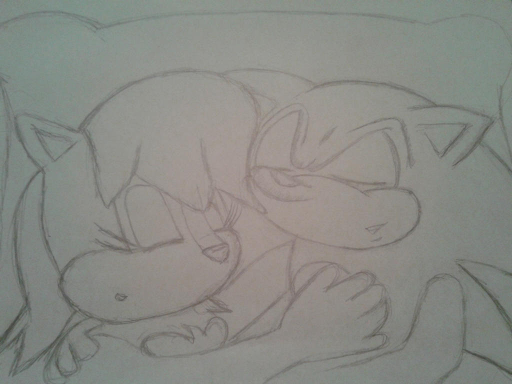Sally sleeping with Sonic sketch by babirox753