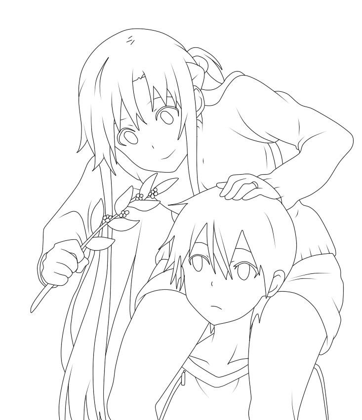 Kirito Lineart : Asuna and kirito lineart by wilczurix on deviantart