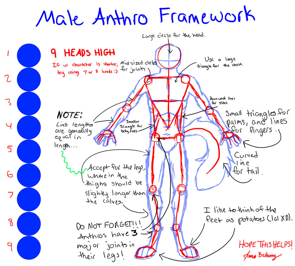 Anthro Wolf Male Male Anthro Framework by