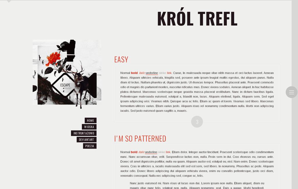 Blogspot template Krol Trefl by stupid-owl
