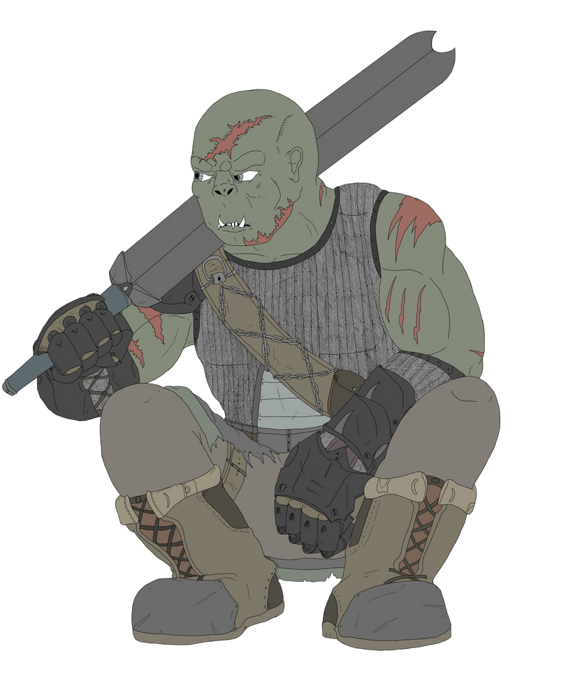 DnD half orc fighter by scrap-paper22