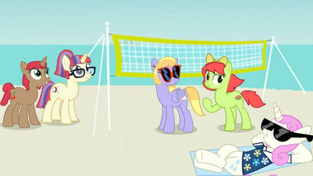 RQ: Malibu Moondancer and Friends at the beach by twilightsparkle0428