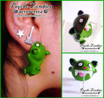 Zombie cat (bites your ear) stud earring