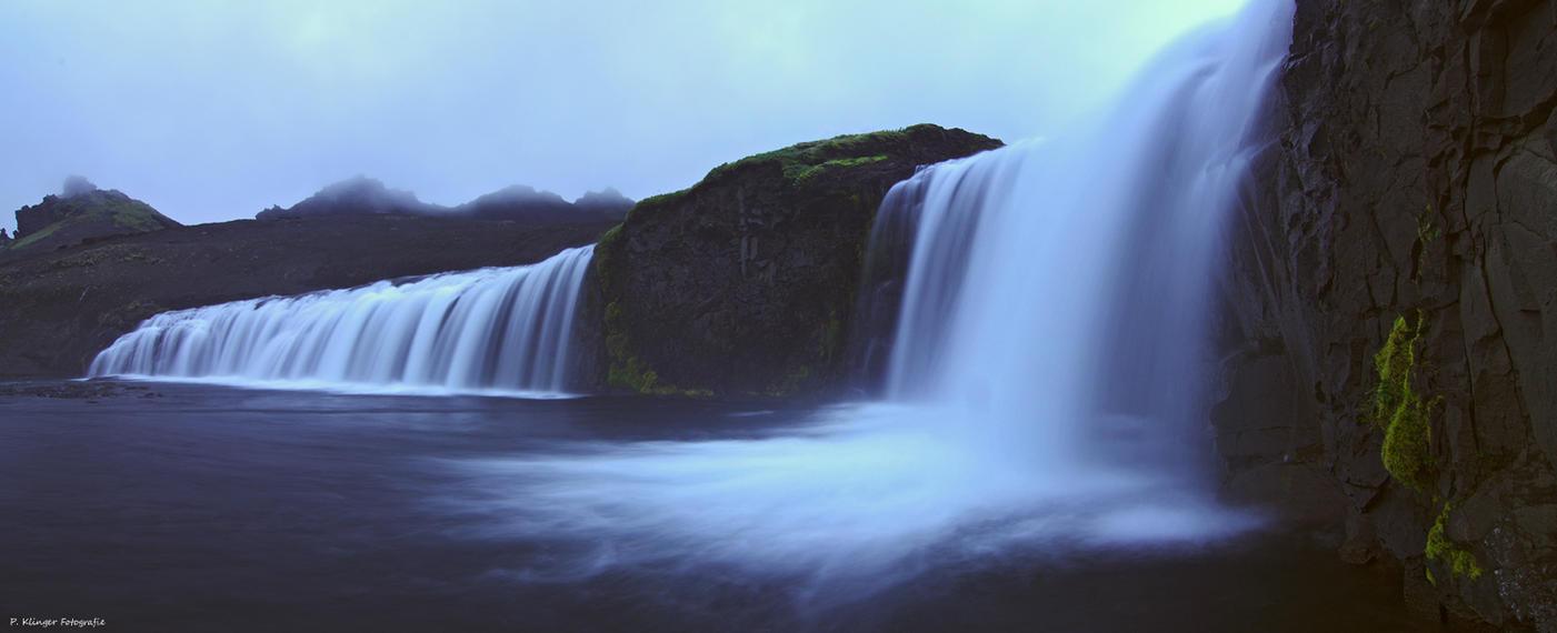 Icelandic waterfall panorama by Aphantopus