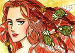 Mermaid with turtles braiding her hair