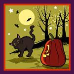 Black cat frighten by a pumpkin