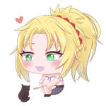 Chibi Mordred With a Kitten