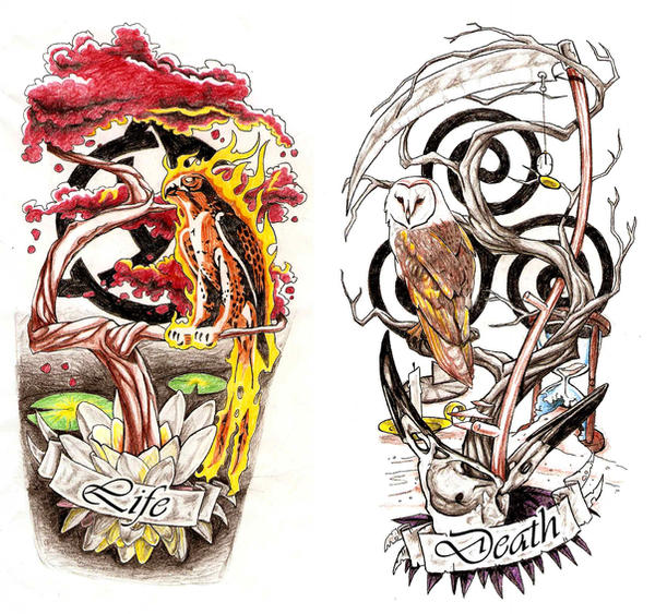 Life and Death Calf Tattoos by ~Omedon on deviantART