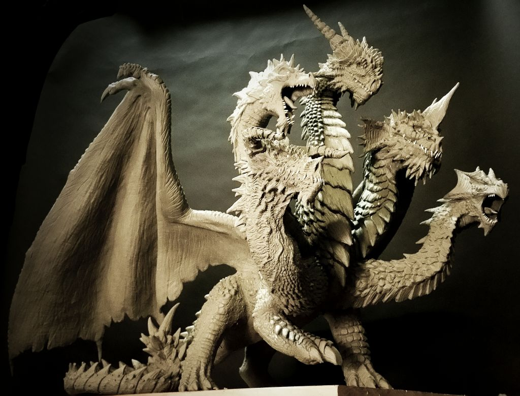 5 headed dragon statue wip by fritofrito on deviantart for Gimnasio 5 dragones