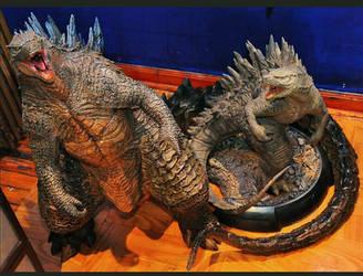 Custom Godzilla 3 ft statue next to Sideshows  by FritoFrito