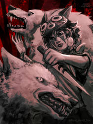 Princess Mononoke (dark version) by foureyed-fox