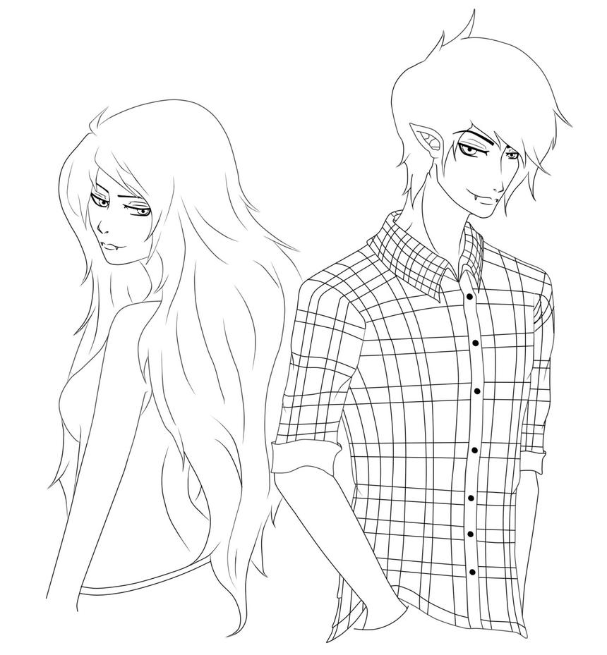 Lineart - Marceline and Marshall Lee by skittlefueled