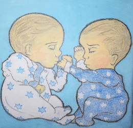 Twin boys painting
