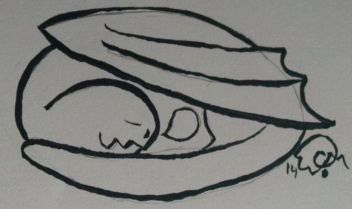 Inktober - Sleepy Dragon by WashiChiisai