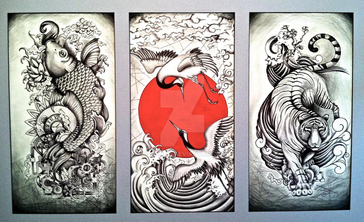 traditional japanese triptych by wajanja traditional japanese triptych by wajanja