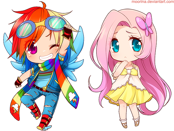 Rainbow Dash + Fluttershy by Moorina