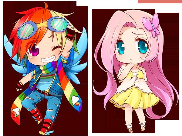 Rainbow Dash + Fluttershy by Moorina