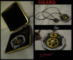 Steampunk Necklace-Pearl Gears by linderel