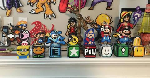 Mario, Megaman, Minion Perler Box Penny Banks by jnjfranklin