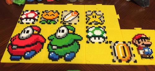 Fat Shyguy and Mario Perler Box Pattern by jnjfranklin