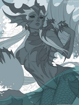 The Sea Dragoness - Line Art