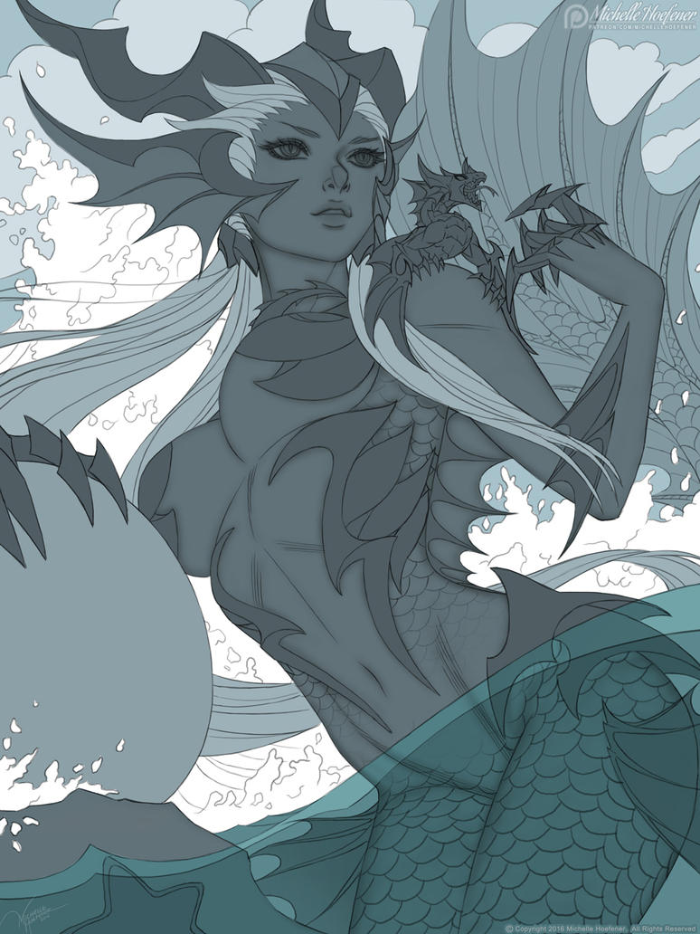 The Sea Dragoness Line Art By Michellehoefener On Deviantart