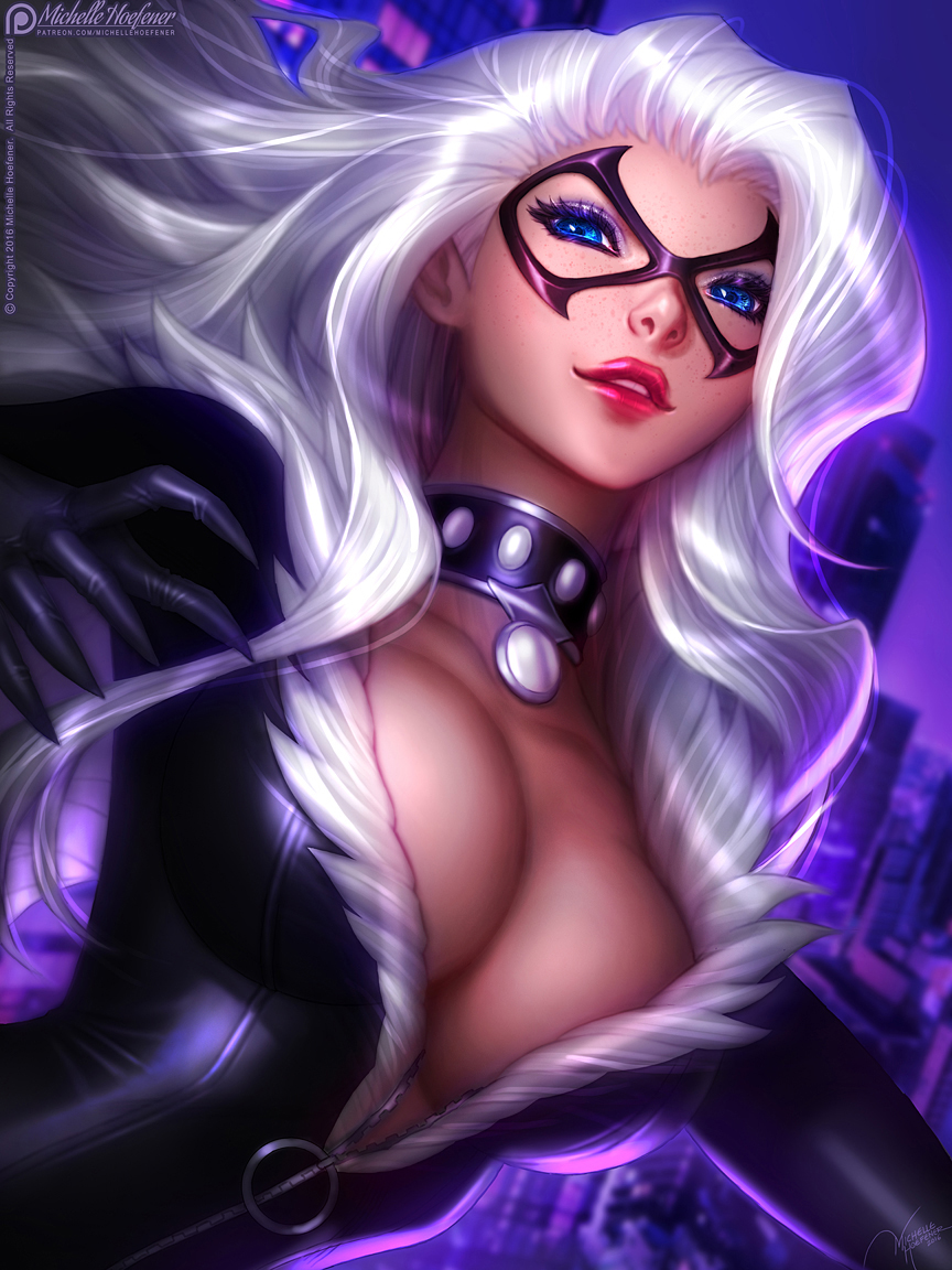 Art black cat fan nude fantasy