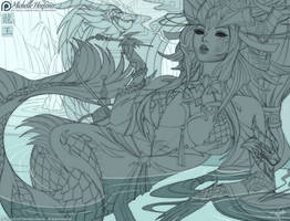 The Jade Dragoness - Line Art by MichelleHoefener