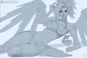 Mercy Swimsuit - Line Art by MichelleHoefener