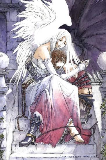 Angel and demon by Obsidiurne-Morgil