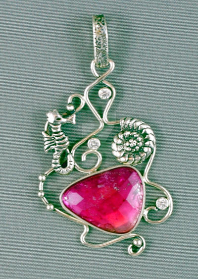 Sea theme silver pendant with pink tourmaline by nataliakhon