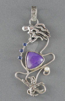 Nautical sterling silver pendant with sugilite