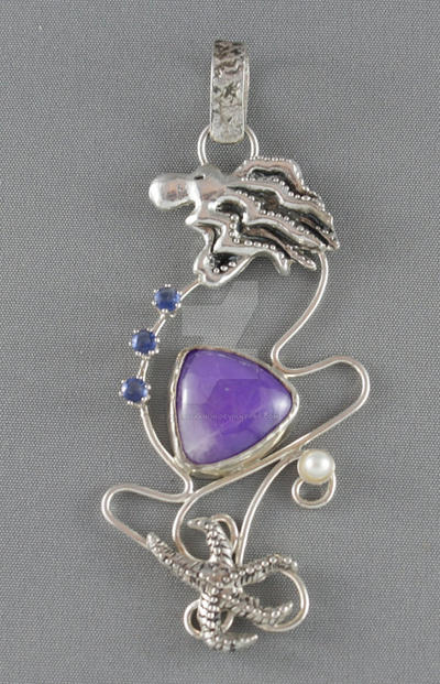 Nautical sterling silver pendant with sugilite by nataliakhon