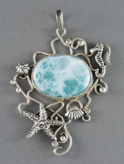 Silver pendant with a big larimar and seahorse by nataliakhon
