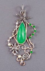 Nautical sterling silver pendant with chrysoprase