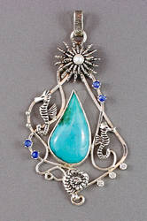 Nautical sterling silver pendant with gem silica