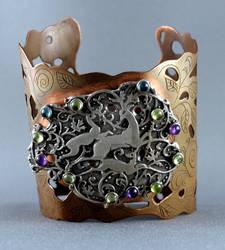 Deer bracelet, sterling silver and copper.