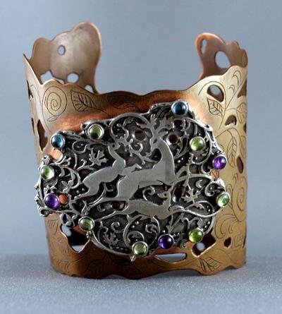 Deer bracelet, sterling silver and copper. by nataliakhon