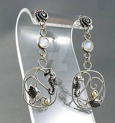 Sea-horse and rainbow moonstone dangle earrings