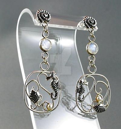Sea-horse and rainbow moonstone dangle earrings by nataliakhon