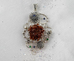 Aragonite artisan jewelry. Nautical sterling silve