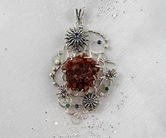 Aragonite artisan jewelry. Nautical sterling silve