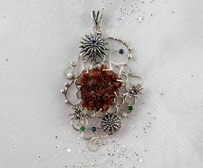 Aragonite artisan jewelry. Nautical sterling silve by nataliakhon