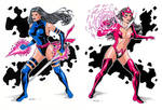Psylocke and Star Sapphire Diptych - Colored