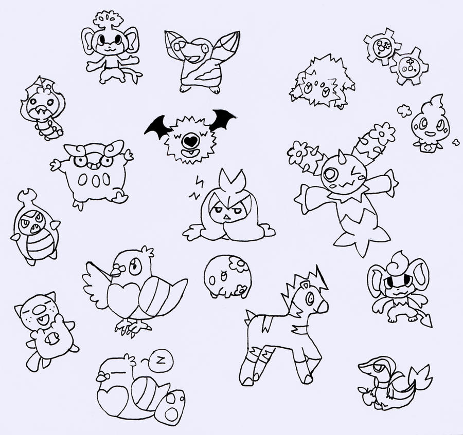 Unova pokemon by blue ember333 on deviantart for Deerling coloring pages