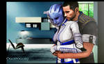 Shepard And Liara A Painting by oggepoggelj