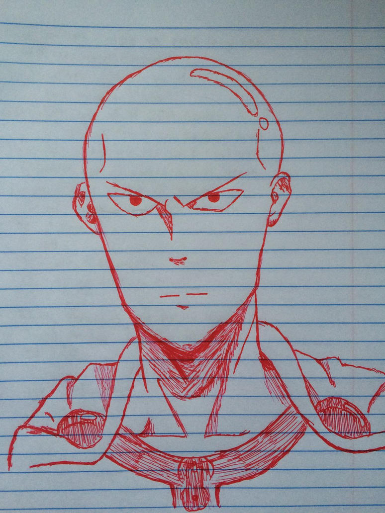 Saitama Red Pen Sketch by Angelwings200